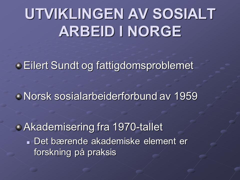 UTVIKLINGEN AV SOSIALT ARBEID I NORGE