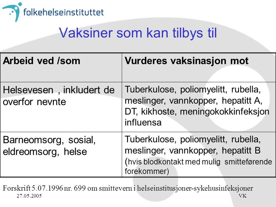 Vaksiner som kan tilbys til