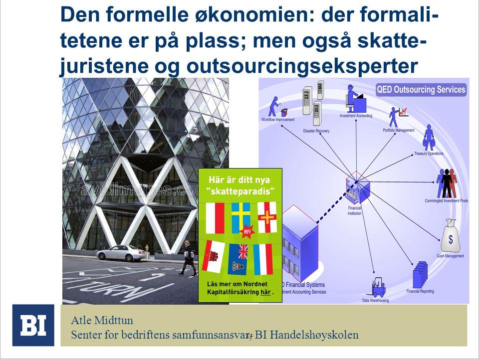 Den formelle økonomien: der formali-tetene er på plass; men også skatte-juristene og outsourcingseksperter
