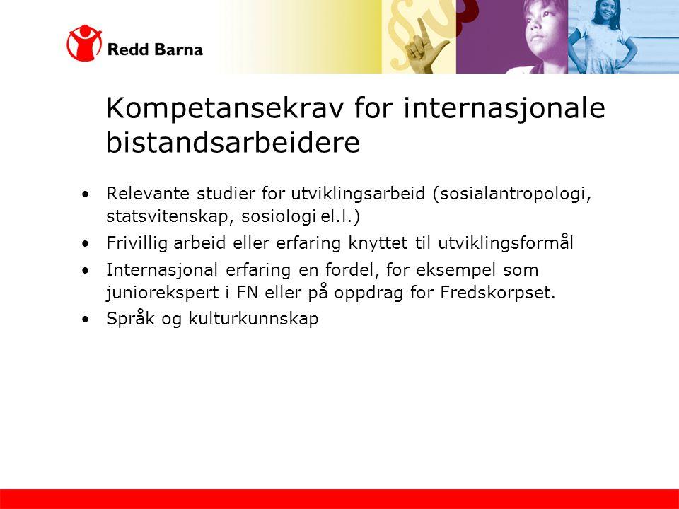 Kompetansekrav for internasjonale bistandsarbeidere