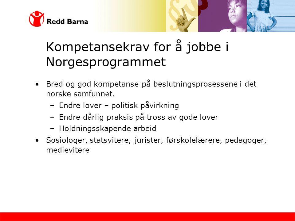 Kompetansekrav for å jobbe i Norgesprogrammet