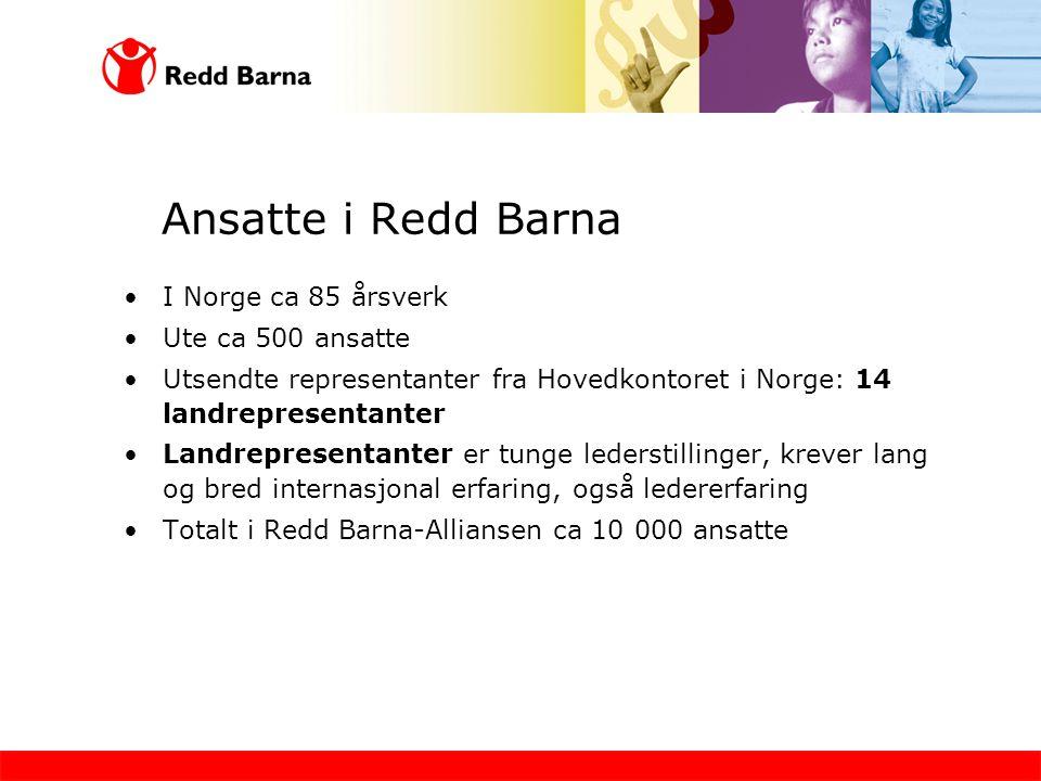 Ansatte i Redd Barna I Norge ca 85 årsverk Ute ca 500 ansatte