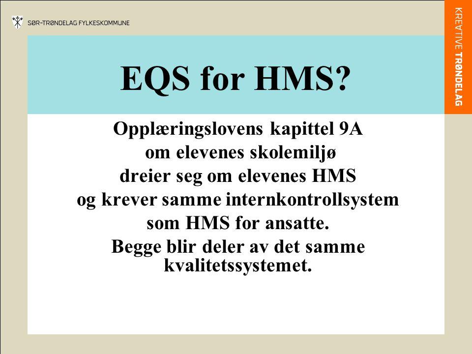 EQS for HMS Opplæringslovens kapittel 9A om elevenes skolemiljø