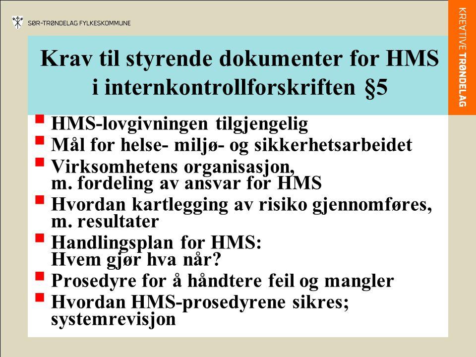 Krav til styrende dokumenter for HMS i internkontrollforskriften §5