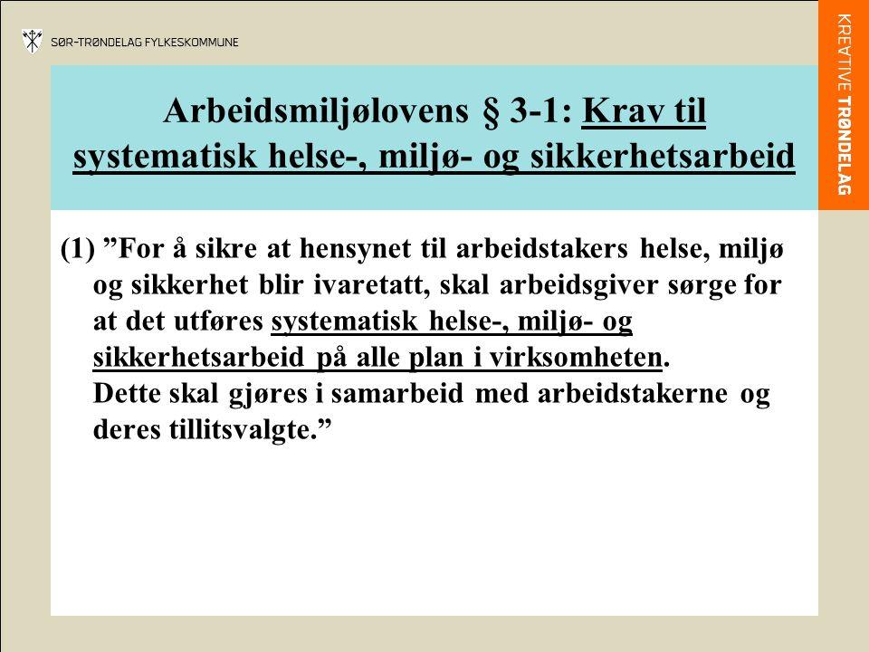 Arbeidsmiljølovens § 3-1: Krav til systematisk helse-, miljø- og sikkerhetsarbeid