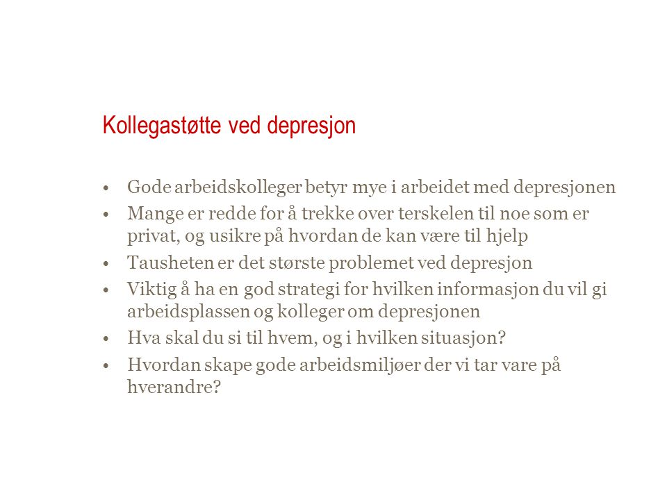 Kollegastøtte ved depresjon