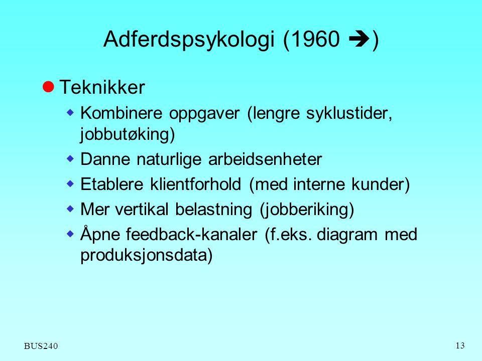 Adferdspsykologi (1960 ) Teknikker