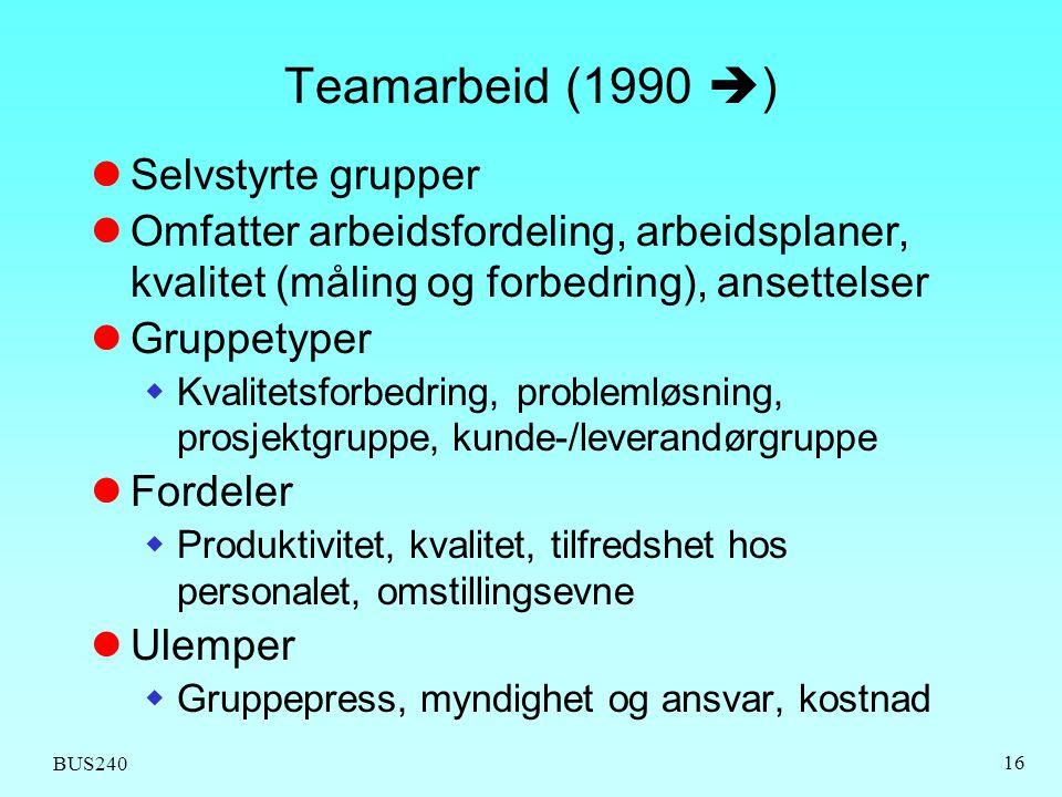 Teamarbeid (1990 ) Selvstyrte grupper