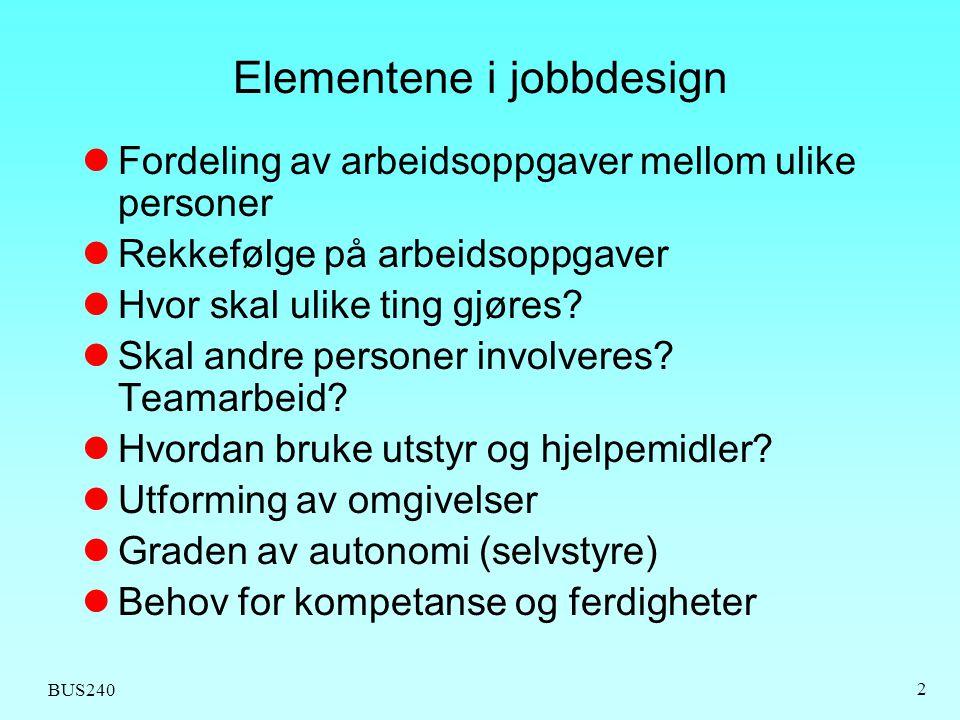 Elementene i jobbdesign