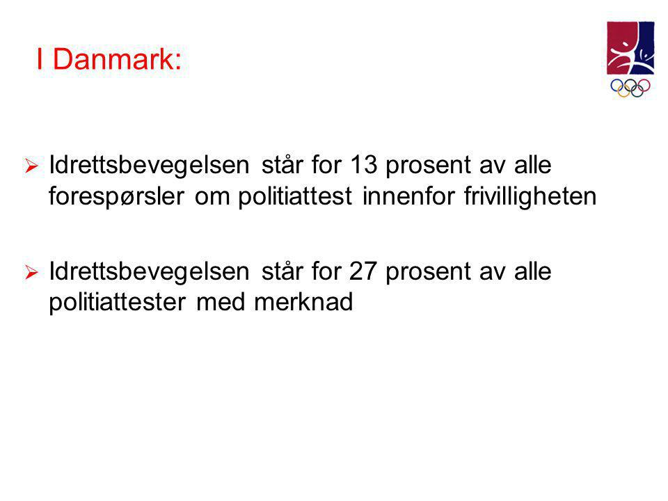 I Danmark: Idrettsbevegelsen står for 13 prosent av alle forespørsler om politiattest innenfor frivilligheten.