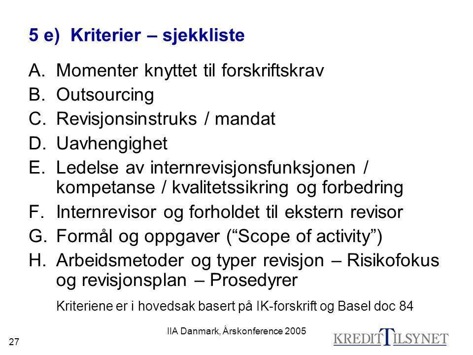 5 e) Kriterier – sjekkliste