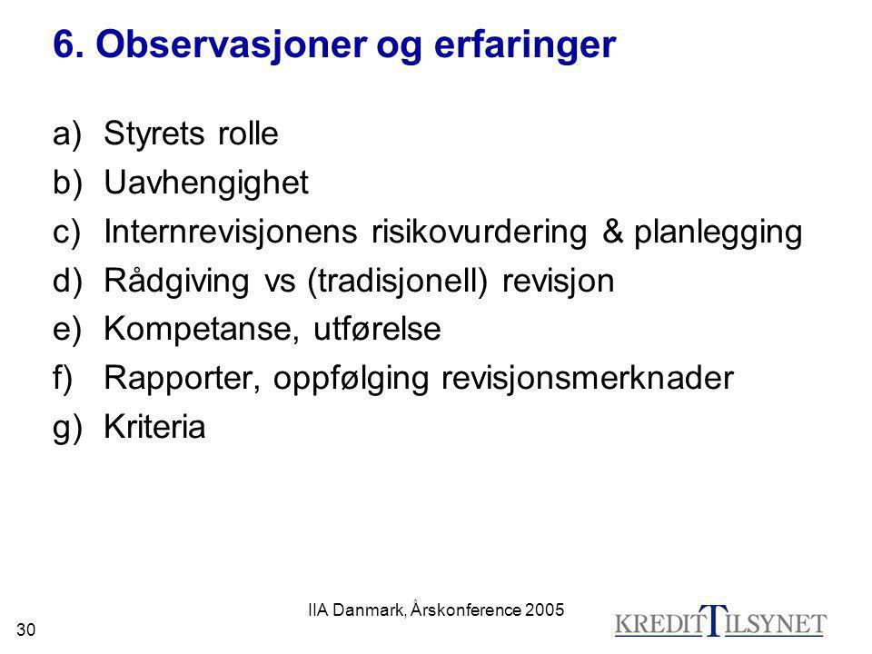 6. Observasjoner og erfaringer