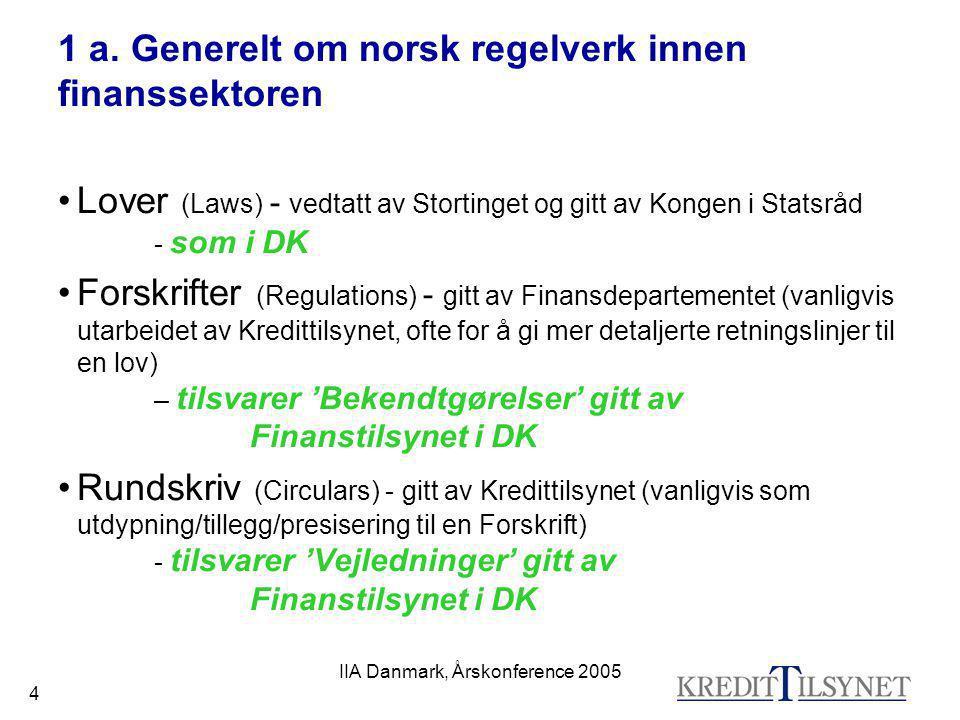 1 a. Generelt om norsk regelverk innen finanssektoren