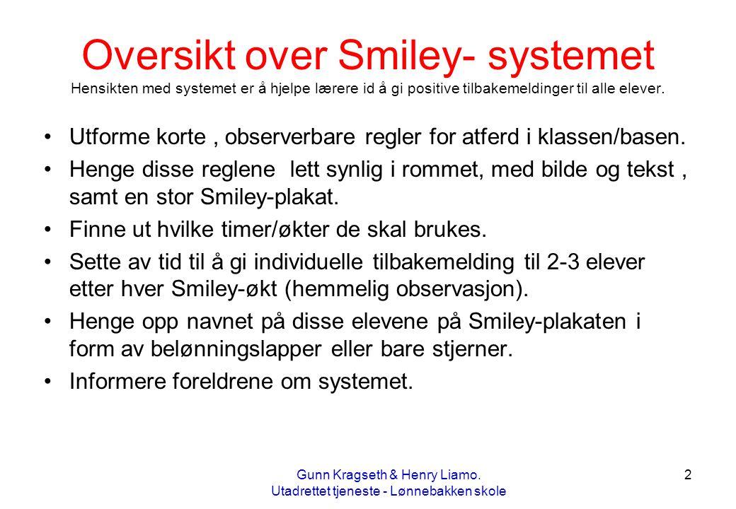 Oversikt over Smiley- systemet Hensikten med systemet er å hjelpe lærere id å gi positive tilbakemeldinger til alle elever.