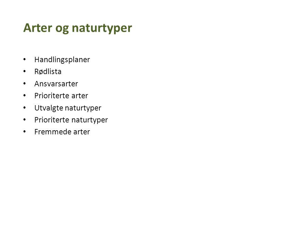 Arter og naturtyper Handlingsplaner Rødlista Ansvarsarter