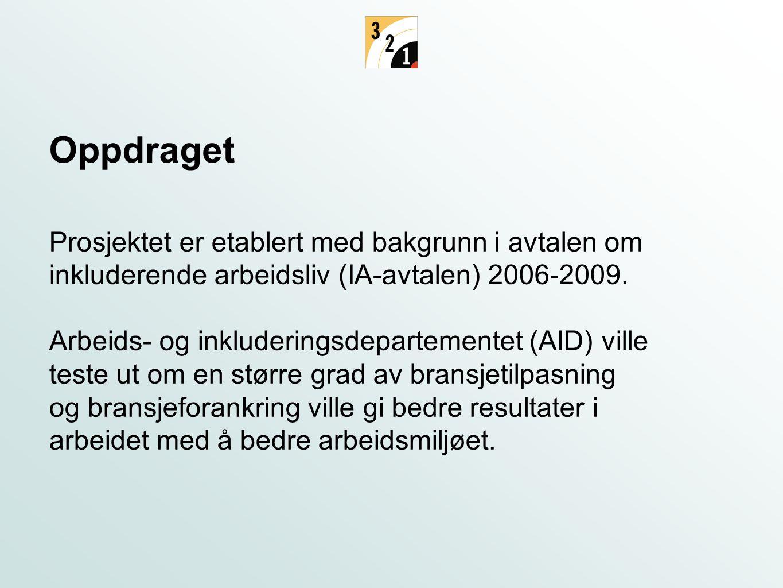 Oppdraget Prosjektet er etablert med bakgrunn i avtalen om inkluderende arbeidsliv (IA-avtalen) 2006-2009.