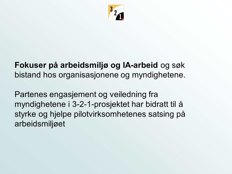 Fokuser på arbeidsmiljø og IA-arbeid og søk bistand hos organisasjonene og myndighetene.