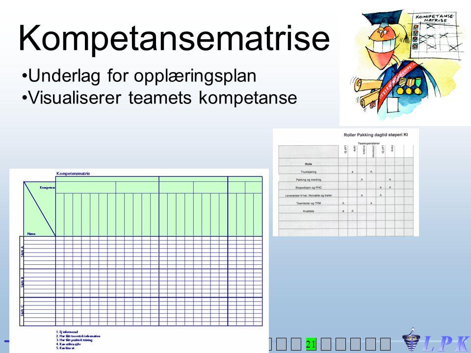 Kompetansematrise Underlag for opplæringsplan