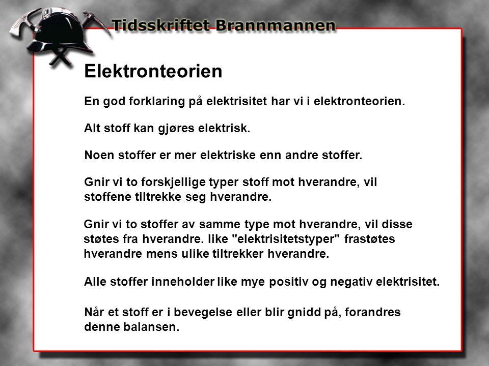 Elektronteorien En god forklaring på elektrisitet har vi i elektronteorien. Alt stoff kan gjøres elektrisk.