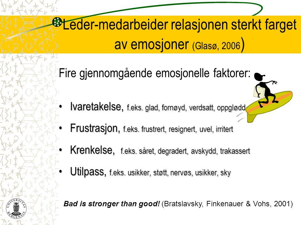 Leder-medarbeider relasjonen sterkt farget av emosjoner (Glasø, 2006)