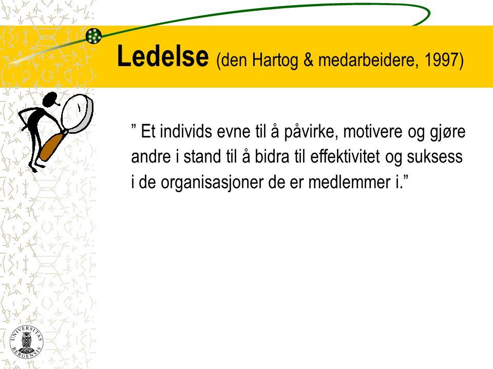 Ledelse (den Hartog & medarbeidere, 1997)