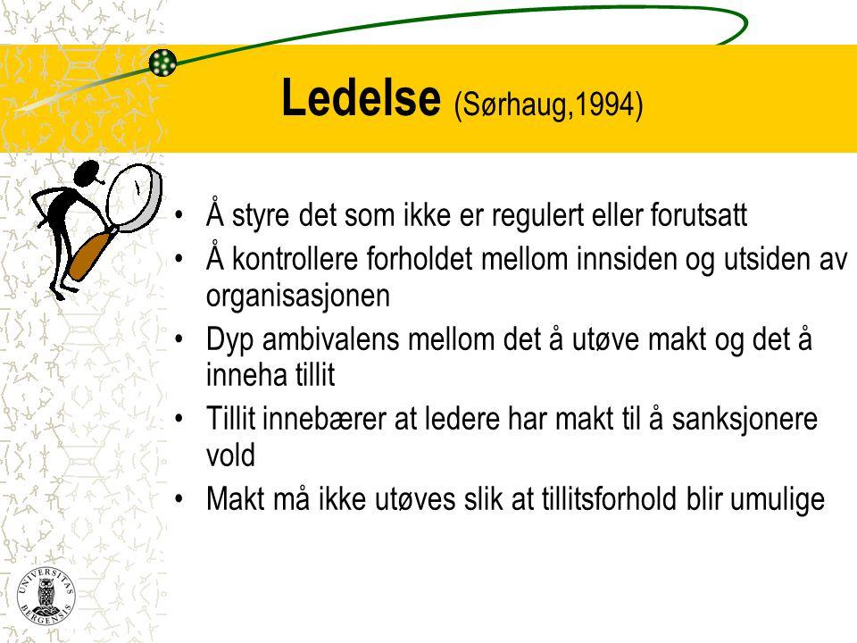 Ledelse (Sørhaug,1994) Å styre det som ikke er regulert eller forutsatt. Å kontrollere forholdet mellom innsiden og utsiden av organisasjonen.