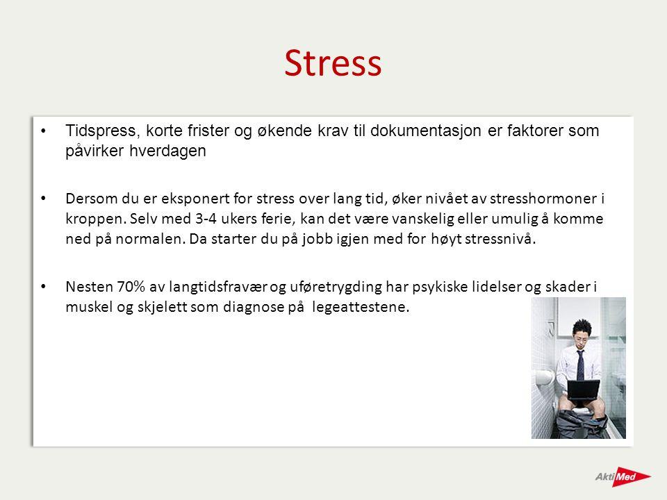 Stress Tidspress, korte frister og økende krav til dokumentasjon er faktorer som påvirker hverdagen.