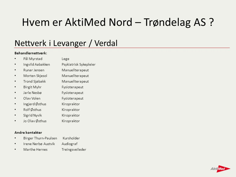 Nettverk i Levanger / Verdal