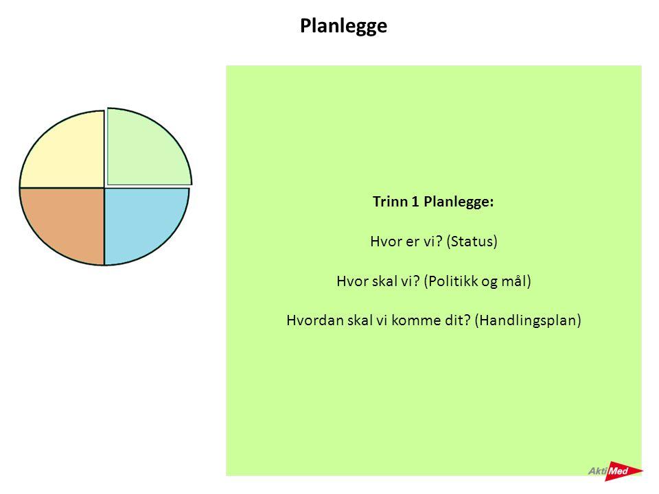 Planlegge Trinn 1 Planlegge: Hvor er vi (Status)