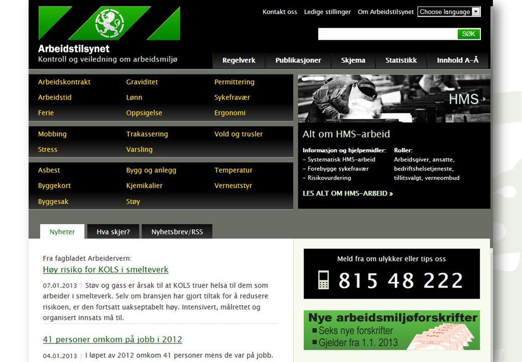 Veiledning. www.arbeidstilsynet.no. Nettstedet vårt er populært og har ca. 200 000 unike brukere hver måned.