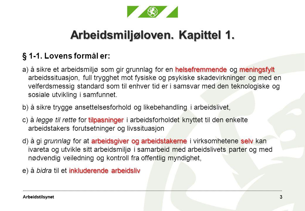 Arbeidsmiljøloven. Kapittel 1.