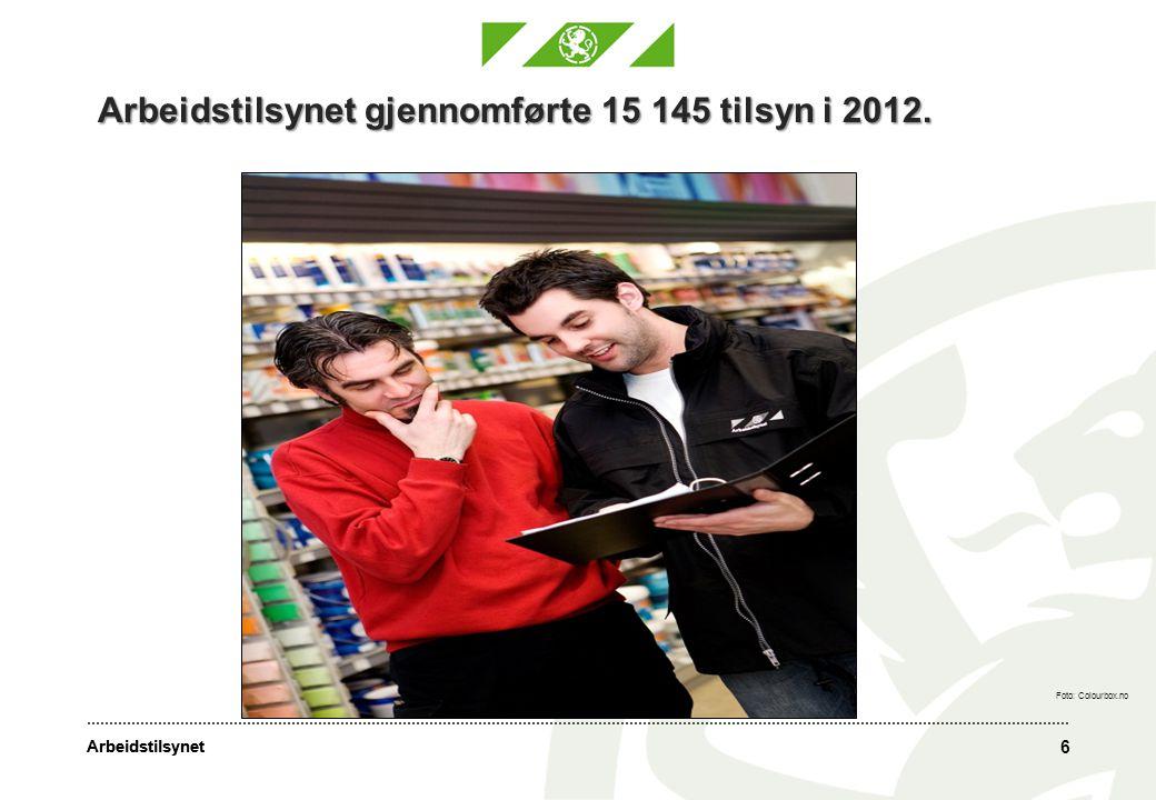 Arbeidstilsynet gjennomførte 15 145 tilsyn i 2012.