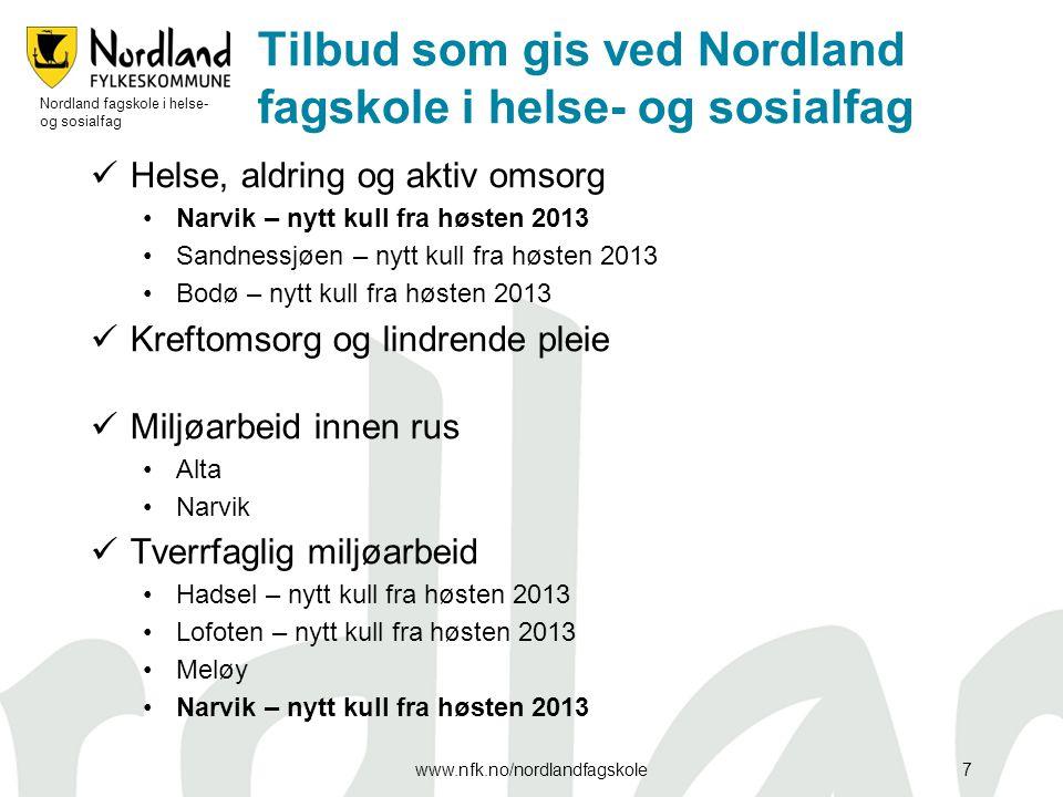 Tilbud som gis ved Nordland fagskole i helse- og sosialfag