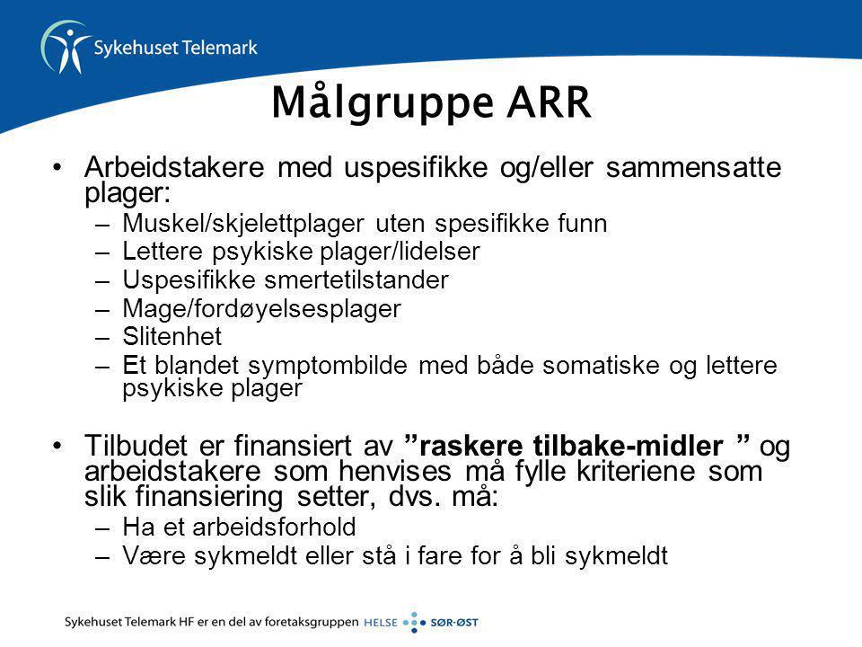 Målgruppe ARR Arbeidstakere med uspesifikke og/eller sammensatte plager: Muskel/skjelettplager uten spesifikke funn.