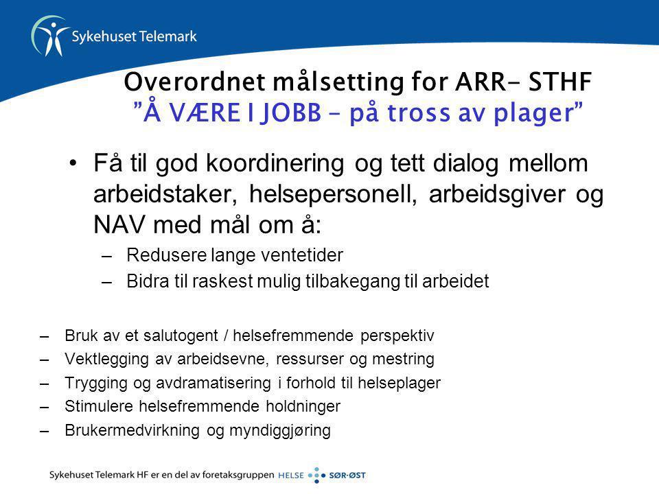 Overordnet målsetting for ARR- STHF Å VÆRE I JOBB – på tross av plager