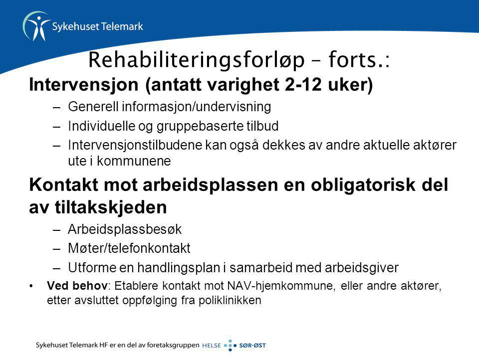 Rehabiliteringsforløp – forts.: