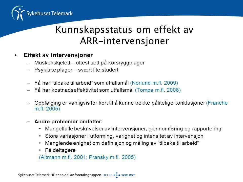 Kunnskapsstatus om effekt av ARR-intervensjoner
