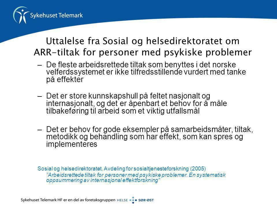 Uttalelse fra Sosial og helsedirektoratet om ARR-tiltak for personer med psykiske problemer