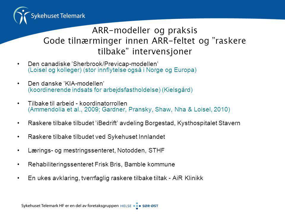 ARR-modeller og praksis Gode tilnærminger innen ARR-feltet og raskere tilbake intervensjoner