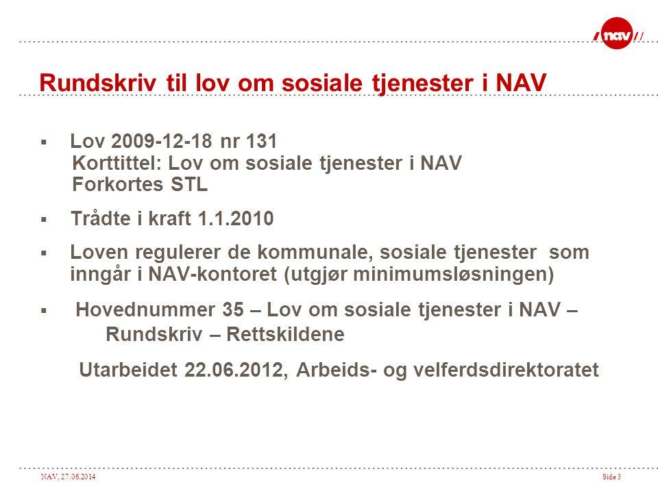 Rundskriv til lov om sosiale tjenester i NAV