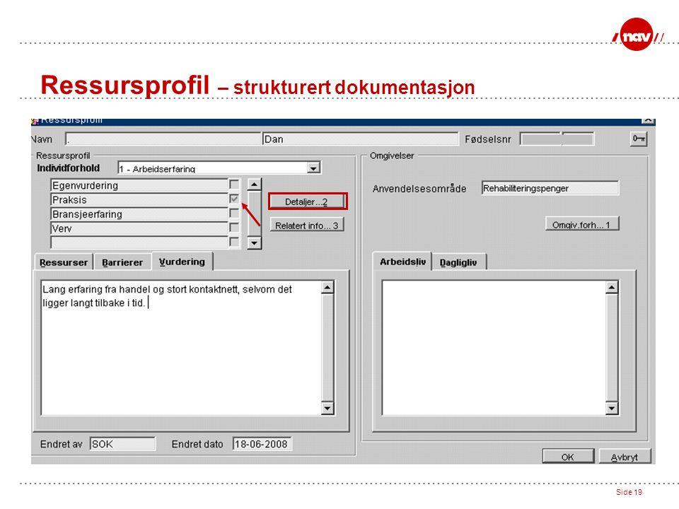Ressursprofil – strukturert dokumentasjon