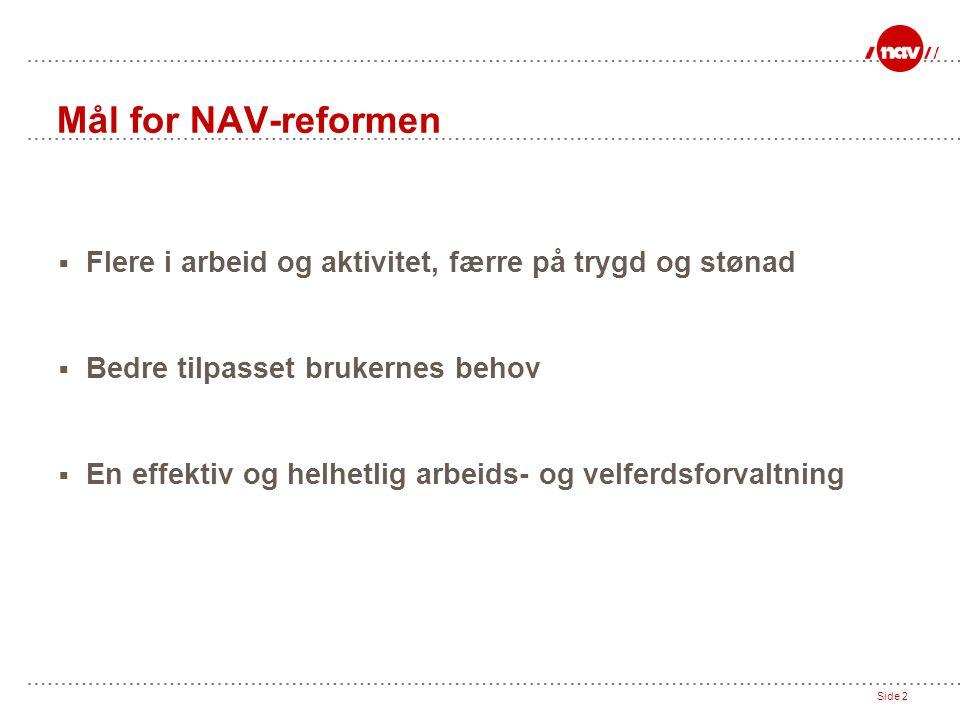 Mål for NAV-reformen Flere i arbeid og aktivitet, færre på trygd og stønad. Bedre tilpasset brukernes behov.
