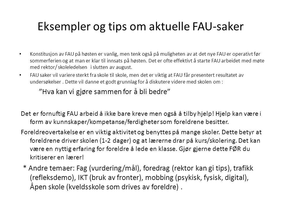 Eksempler og tips om aktuelle FAU-saker
