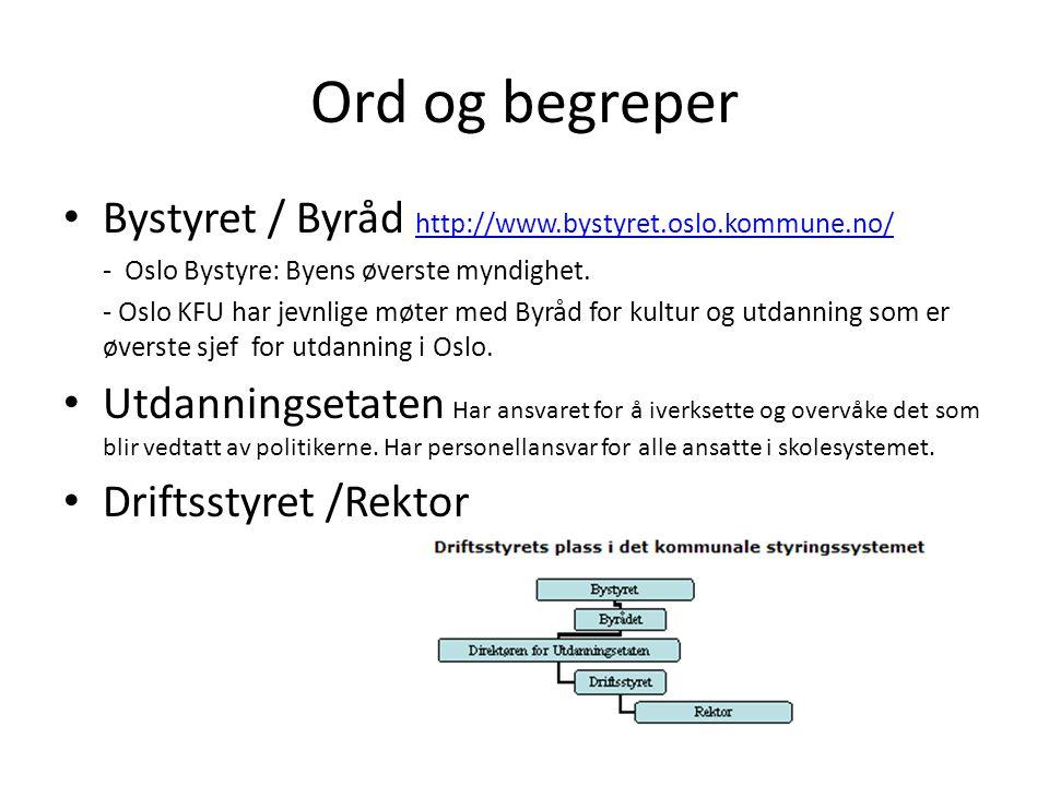 Ord og begreper Bystyret / Byråd http://www.bystyret.oslo.kommune.no/