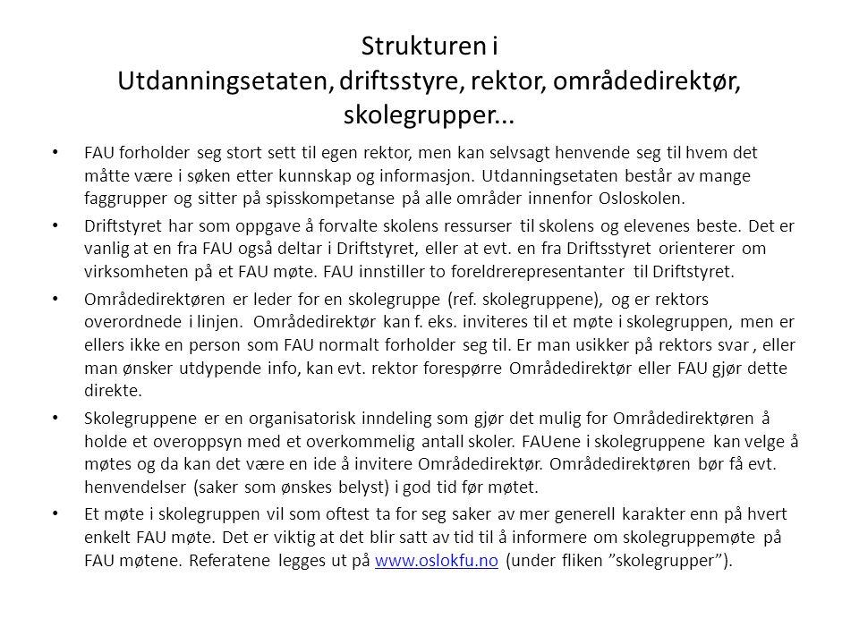 Strukturen i Utdanningsetaten, driftsstyre, rektor, områdedirektør, skolegrupper...