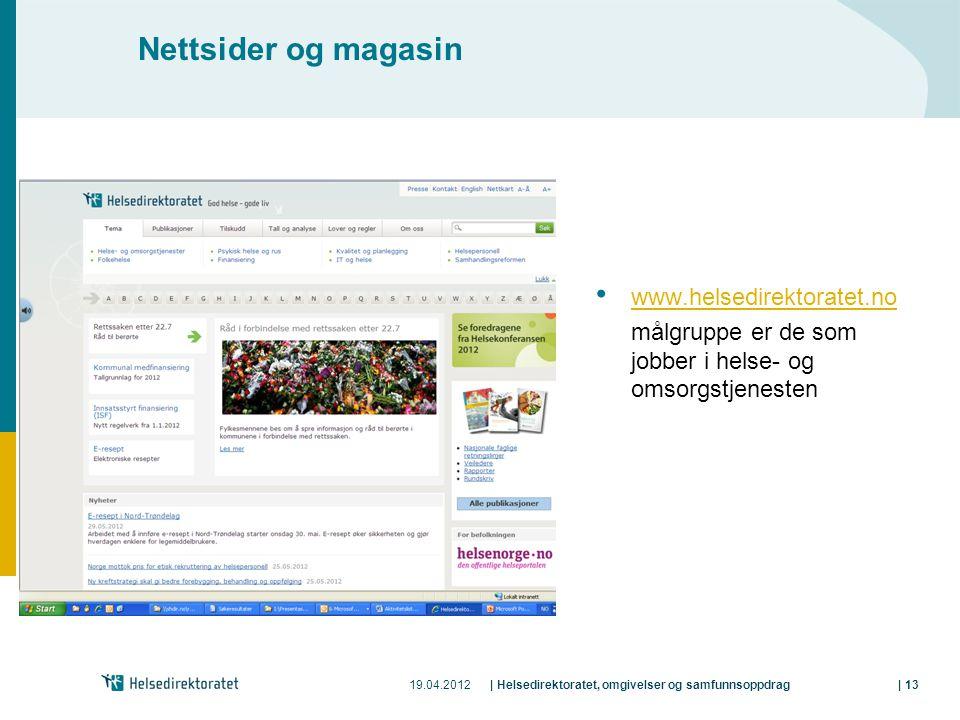 Nettsider og magasin www.helsedirektoratet.no