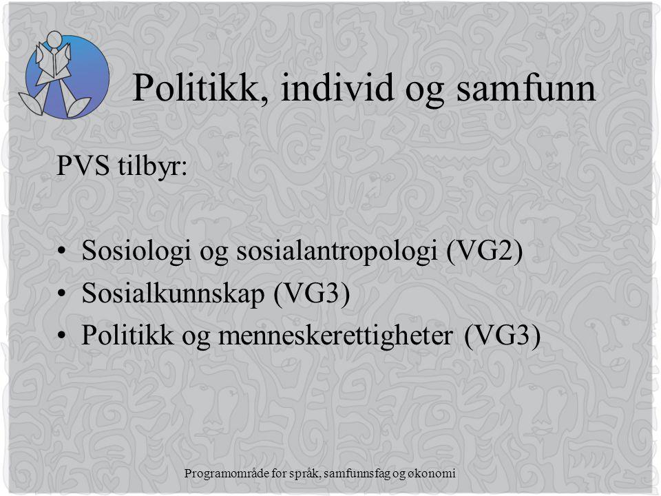 Politikk, individ og samfunn