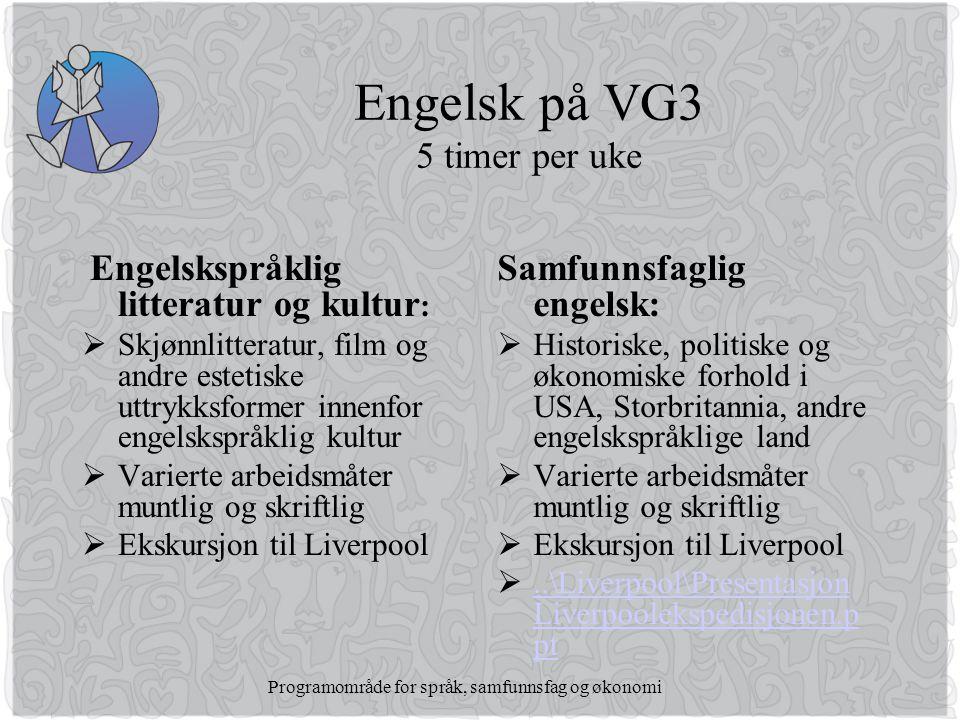 Engelsk på VG3 5 timer per uke