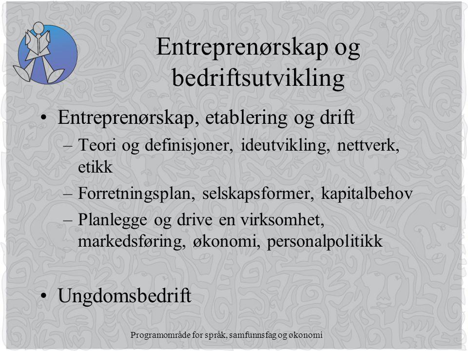 Entreprenørskap og bedriftsutvikling