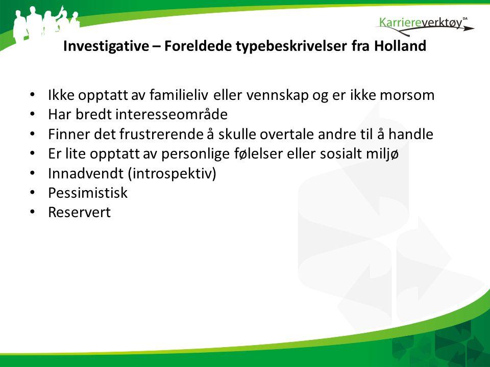 Investigative – Foreldede typebeskrivelser fra Holland